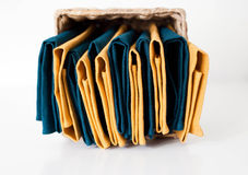 LInen napkins composition in storage box Royalty Free Stock Photography