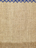 Linen natural texture pattern with fringe.Background. Royalty Free Stock Images