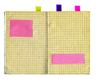 Linen notebook. Obsolete notebook with sticky notes isolated on white Stock Photo