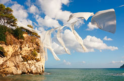 Linen over sea Stock Images
