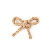 Linen rope bow knot isolated Royalty Free Stock Images