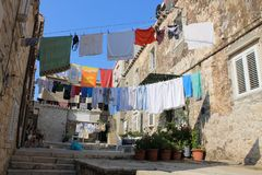 Linen on a rope in the old town of Dubrovnik stock image