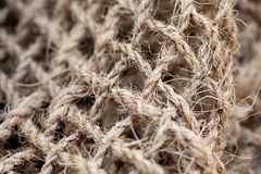 Linen rope textured pattern macro view. Selective focus photography Royalty Free Stock Image