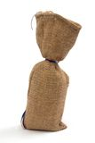 Linen sack. A linen sack with two color ribbon in lower left corner Stock Images