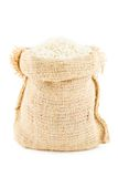 A linen sack filled by rice Royalty Free Stock Photography