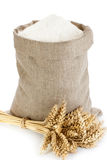 Linen sack with flour Stock Photos