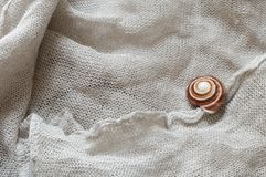 Linen with snail shell. As abstract background Royalty Free Stock Photo