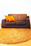 Linen sofa. Contemporary style linen material sofa with pillows Stock Photos