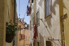 Linen in a street of Alfama Stock Photo