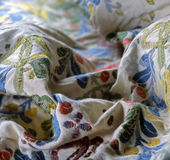 Linen textile. With embroider pattern Royalty Free Stock Images
