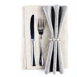 Linen textile napkin with cutlery - knife and fork, Serving tabl Stock Photos