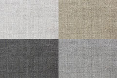 Linen texture for the background of four colors. White, grey, brown and black natural linen texture for the background Royalty Free Stock Photo