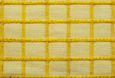 Linen texture. Texture background linen yellow chequed yellow lines Stock Photography