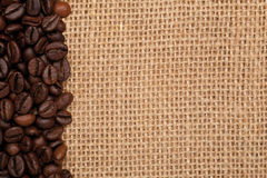 Linen texture with coffee beans Stock Photo