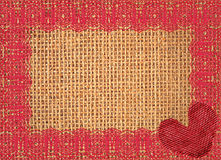 Linen texture with lace and red heart Stock Photography
