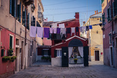 Linen in Venice streets. Colorful photo of traditional venice streets in Italy Royalty Free Stock Photography