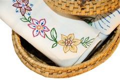 Linen in Wicker Basket stock images