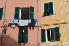 Linen at the window in Cinque Terre Royalty Free Stock Photos