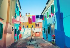 Linens dry outdoors. Linens drying outdoors on Venice Italy street royalty free illustration