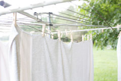 Linens Drying on the Line. White towels drying on the line Royalty Free Stock Photography