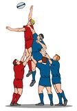 Lineout de rugby Photographie stock