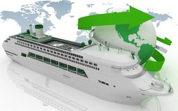 Liner cruise for a round-world voyage Royalty Free Stock Image