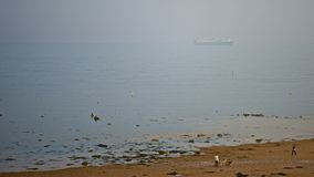 Liner in Mist. Liner at anchor fades in to mist off tranquil beach Royalty Free Stock Photo
