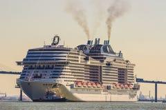 The liner MSC Meraviglia has left Saint-Nazaire Stock Photography