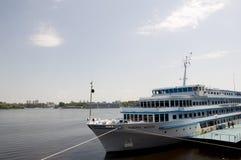 Liner named General Vatutin on the Dnipro river in Kiev city Stock Photo