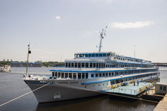 Liner named General Vatutin on the Dnipro river in Kiev city Royalty Free Stock Image