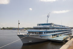 Liner named General Vatutin on the Dnipro river in Kiev city Royalty Free Stock Photo