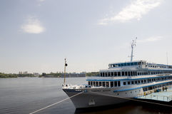 Liner named General Vatutin on the Dnipro river in Kiev city Stock Image