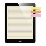 Liner paper on tablet screen Stock Image