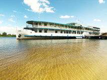 Liner in river royalty free stock images