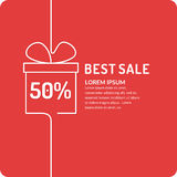 Liner sale banner. Original concept poster discount sale. Sale banner. Vector illustration in liner style on red background Stock Images