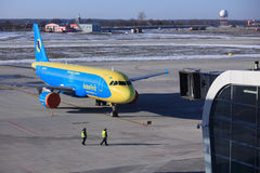 Liner of Ukrainian Aerosvit airlines company in Lvov airport Stock Photos