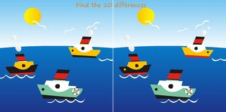Liners-find 10 differences. A game for children and adults - Find ten differences in the figures - liners Stock Image