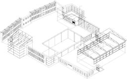 Lines in 3D - building. 3d perspective of school building Royalty Free Stock Images