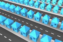 Lines of 3d houses. Lines of blue 3d houses Stock Images