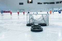 Lines And Trainin Net On Ice Ring Stock Photo