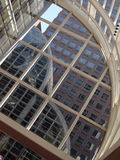 Lines, Angles, Curves. View of office building from inside atrium below royalty free stock photos