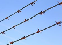Lines of barbed wire to demarcate the border does not open Royalty Free Stock Image