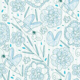 Lines Bee Flower Seamless Pattern_eps Stock Images