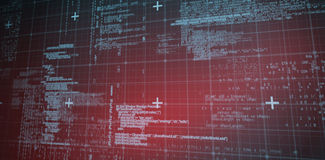 Lines of Blue matrix and codes. With red hue Royalty Free Stock Images