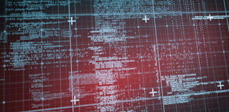 Lines of Blue matrix and codes. With red hue Stock Photos