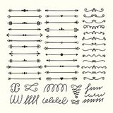 Lines, borders and dividers. Hand drawn calligraphic design elements. Set of decorative symbols in doodle style. Vector illustration Stock Images