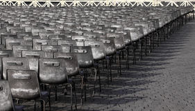 Lines of Chairs. Hundreds of chairs lined up in Vatican City, Rome, Italy Stock Images
