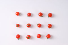 Lines of cherry tomatoes Stock Images