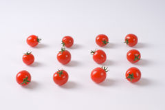 Lines of cherry tomatoes Royalty Free Stock Images