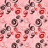 Lines and circles on pink background seamless pattern Royalty Free Stock Photography